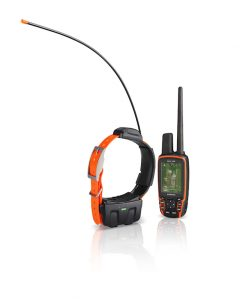 DC 50 GPS dog transmitter shown with orange collar and Astro 320, View, UNITED STATES